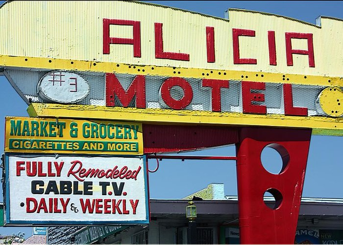Alicia Motel Greeting Card featuring the photograph Alicia Motel Las Vegas by Bill Buth