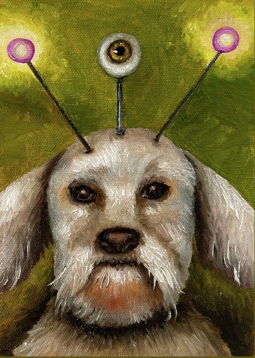 Dog Greeting Card featuring the painting Alien Dog by Leah Saulnier The Painting Maniac