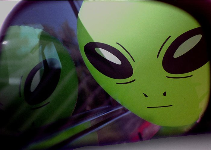 Alien Greeting Card featuring the photograph Alien Is Closer Than He Appears by Richard Henne