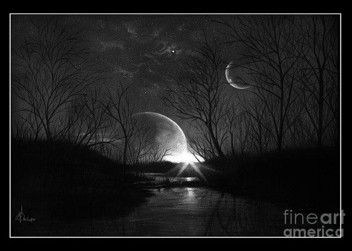 Pencil Greeting Card featuring the drawing Alien Skies by Murphy Elliott