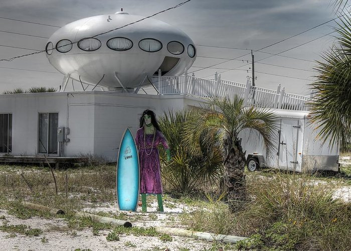 Spaceship Greeting Card featuring the photograph Alien Space Ship House Florida Architecture by Jane Linders