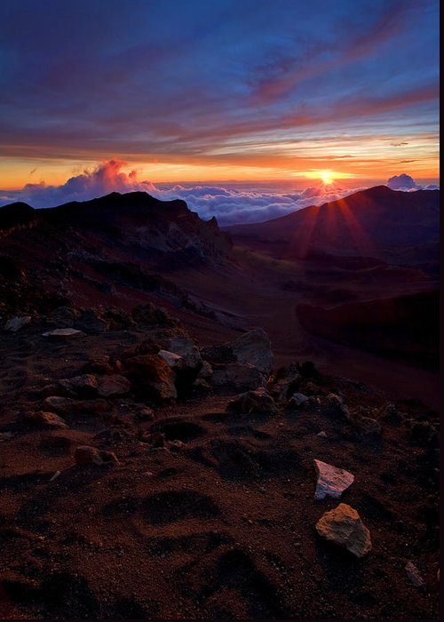Haleakala; Sunrise; Dawn; Hawaii; Maui; Volcano; Peak; Red; Rock Greeting Card featuring the photograph Alien Sunrise by Mike Dawson
