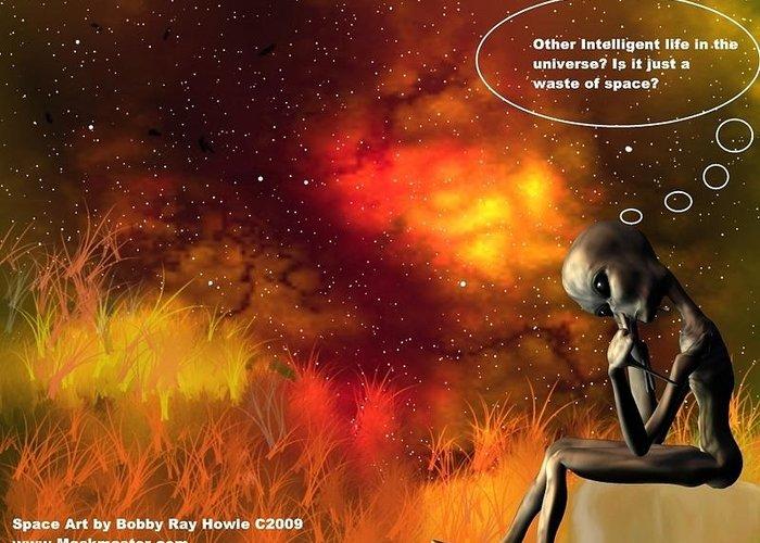 Comic Space Art Cartoon Artrage Artrageus Greeting Card featuring the digital art Alien Thinker by Robert aka Bobby Ray Howle