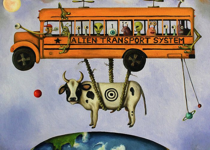 School Bus Greeting Card featuring the painting Alien Transport System by Leah Saulnier The Painting Maniac