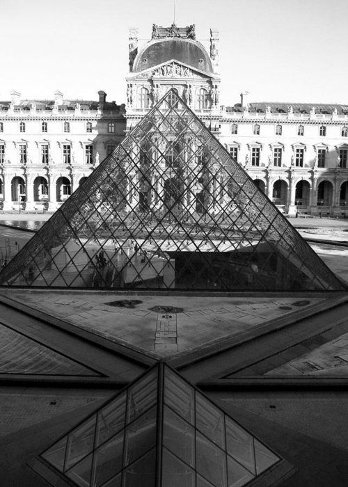 Pyramids Greeting Card featuring the photograph Aligned Pyramids At The Louvre by Donna Corless