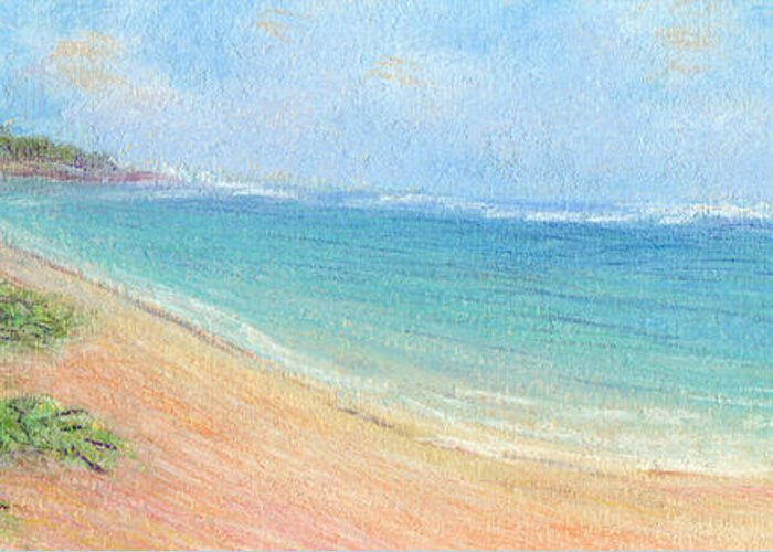 Rainbow Colors Pastel Greeting Card featuring the painting Aliomanu Beach by Kenneth Grzesik