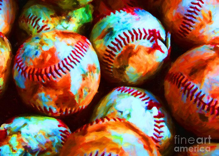 Baseball Greeting Card featuring the photograph All American Pastime - Pile Of Baseballs - Painterly by Wingsdomain Art and Photography