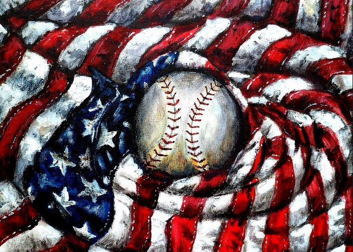 America Greeting Card featuring the painting All American by Shana Rowe Jackson