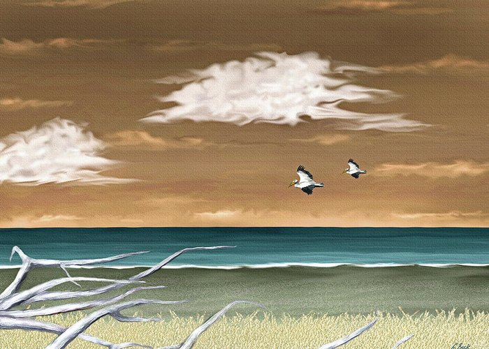 Contemporary Ocean Seascape Nature Pelicans Desolate Beach Gordon Beck Art Greeting Card featuring the painting All Calm by Gordon Beck