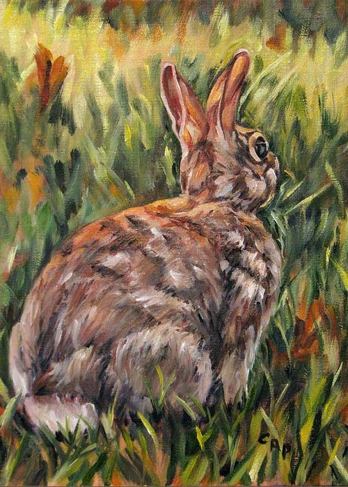 Rabbit Greeting Card featuring the painting All Ears by Cheryl Pass