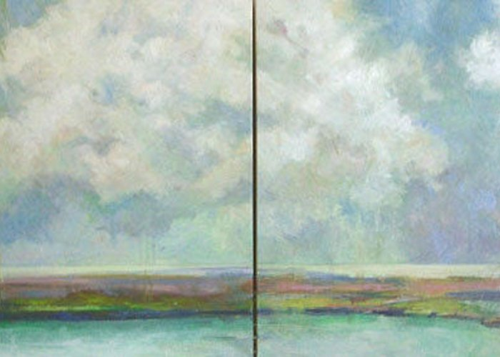 Abstract Landscape Greeting Card featuring the painting All Good Souls- Diptych by Marilyn Muller