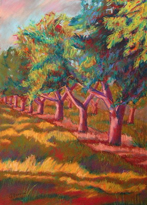Landscape Greeting Card featuring the painting All In A Row by Tracey Flanigan