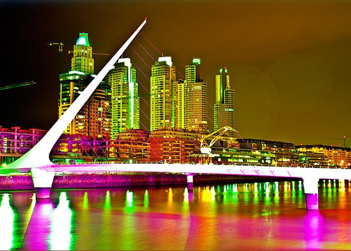 Buenos Greeting Card featuring the photograph All Night Puerto Madero by Francisco Colon