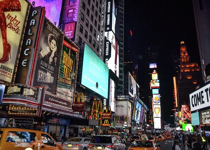 Time Square Greeting Card featuring the photograph All Of The Lights by Kennard Reeves