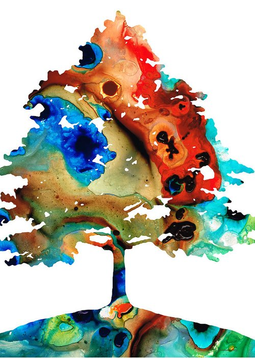 Tree Greeting Card featuring the painting All Seasons Tree 3 - Colorful Landscape Print by Sharon Cummings