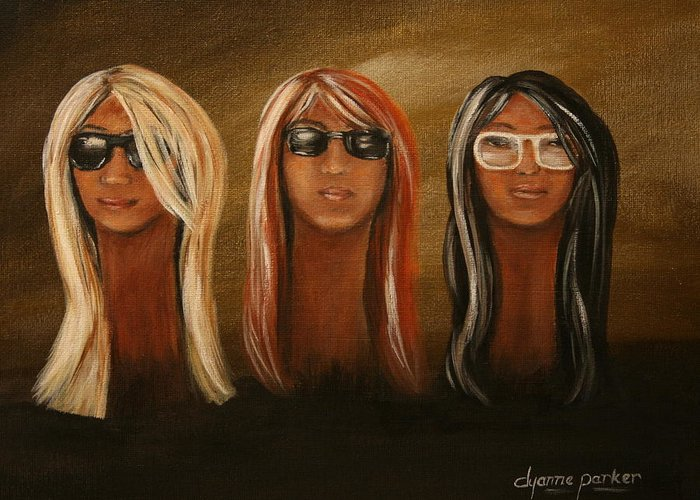 Figurative Greeting Card featuring the painting All Shades by Dyanne Parker