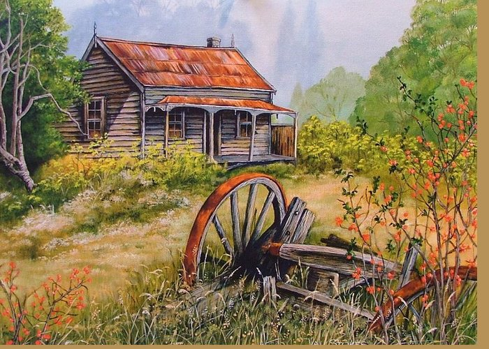 Rustic Greeting Card featuring the painting All That Remains by Val Stokes