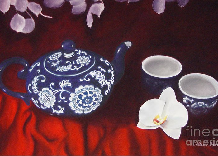 Still Life Greeting Card featuring the painting All The Tea In China by Colleen Brown