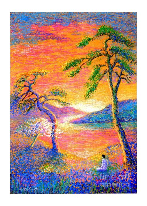 Meditation Greeting Card featuring the painting Buddha Meditation, All Things Bright and Beautiful by Jane Small