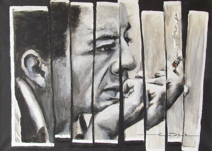 Much Of Johnny Cash's Music Greeting Card featuring the painting All Together Johnny Cash by Eric Dee