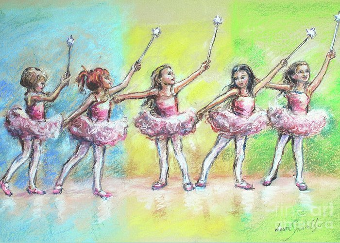 Ballet Dancers Greeting Card featuring the painting All Together Now...first Ballet Recital by Laurie Shanholtzer