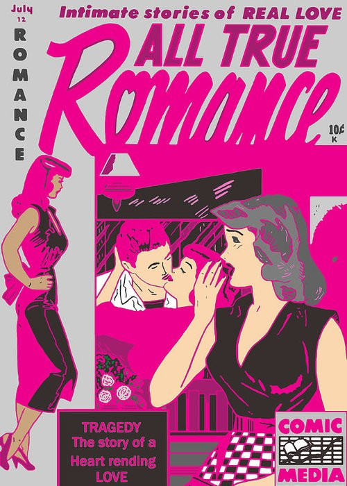 Comic Greeting Card featuring the digital art All True Romances 5 Pinks by Joy McKenzie