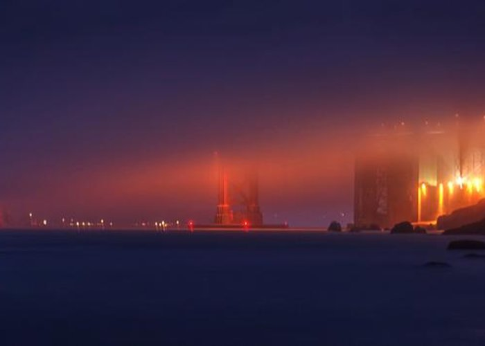 Golden Gate Bridge Greeting Card featuring the photograph All Upon A Foggy Night by Peter Thoeny