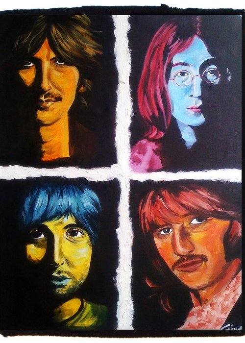Beatles Greeting Card featuring the painting All You Need Is Color by Gina Bocalbos