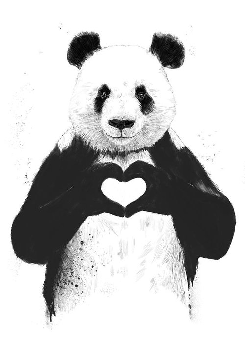 Panda Greeting Card featuring the mixed media All you need is love by Balazs Solti