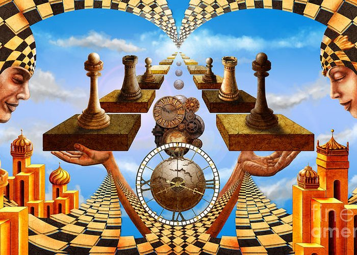 Chess Greeting Card featuring the painting Allegory Of Chess. Equal Exchange by Serge M