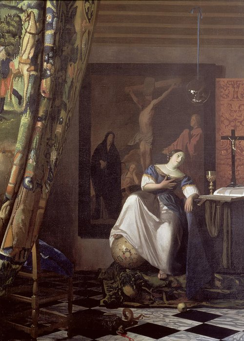 Vermeer Greeting Card featuring the painting Allegory Of The Faith by Jan Vermeer