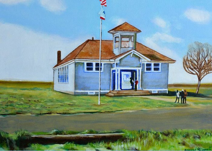 Buildings; School; Landscape; African American Community; Historical State Park; Greeting Card featuring the painting Allensworth School by Howard Stroman