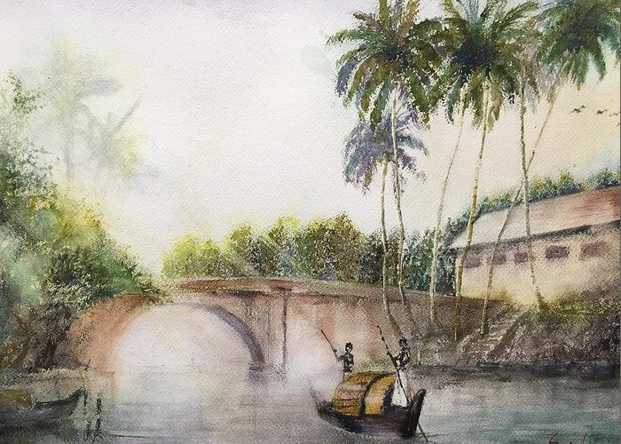 Alappuzha Greeting Card featuring the painting Alleppey Kerala 1899 Ad by Saj Ram