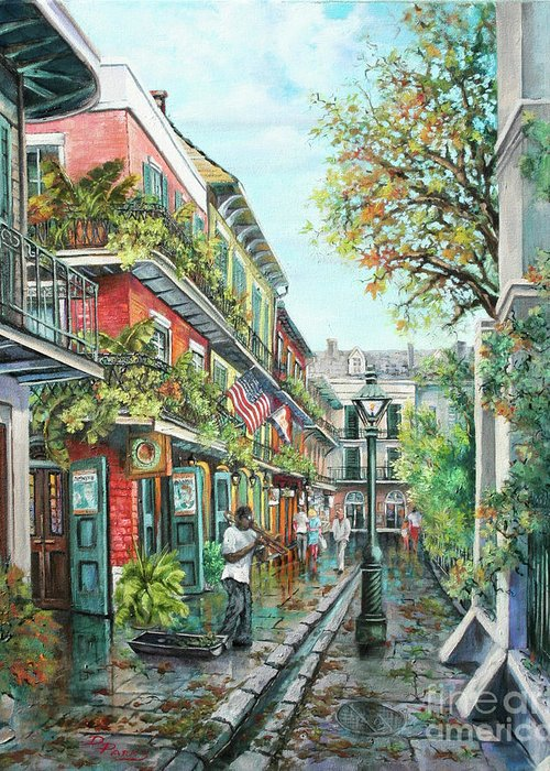 Music Greeting Card featuring the painting Alley Jazz by Dianne Parks