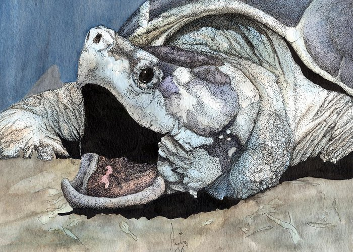 Reptile Turtles Alligator Snapper Turtle Art Snapping Turtle Greeting Card featuring the painting Alligator Snapping Turtle by Preston Shupp