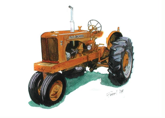 Allis Chalmers Tractor Greeting Card featuring the painting Allis Chalmers Tractor by Ferrel Cordle