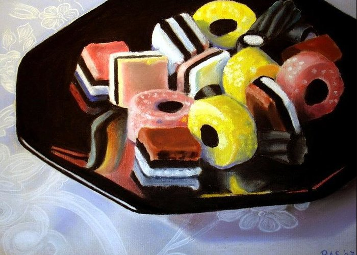 Still Life Greeting Card featuring the painting Allsorts I by Rose Sciberras