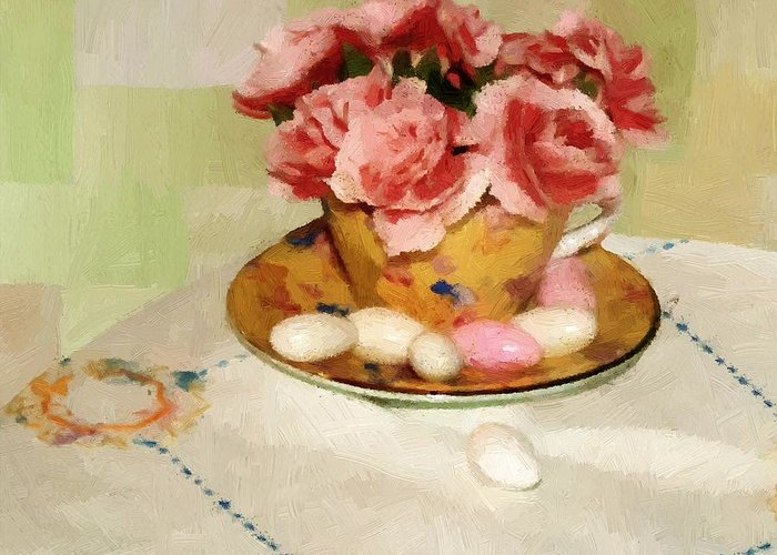 Almonds Greeting Card featuring the painting Almond Blossom Tea by RC DeWinter