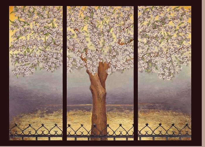 Almond Greeting Card featuring the painting Almond Tree by Barbara Gerodimou