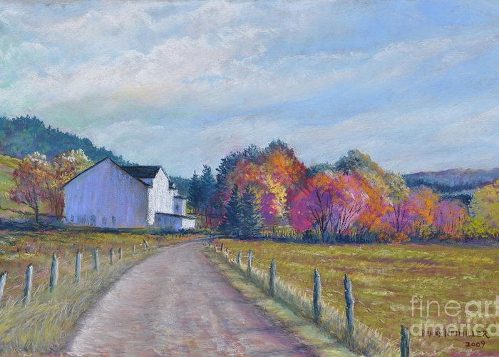 Paintings Of Farms In Fall Greeting Card featuring the painting Almost Home by Penny Neimiller