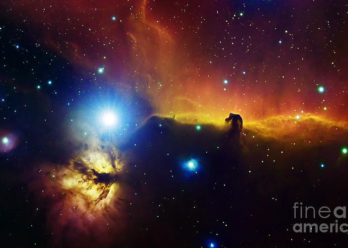 Alnitak Greeting Card featuring the photograph Alnitak Region In Orion Flame Nebula by Filipe Alves