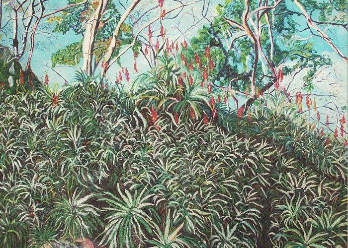 Valentine Magutsa Greeting Card featuring the painting Aloe Garden Vumba by Valentine Magutsa