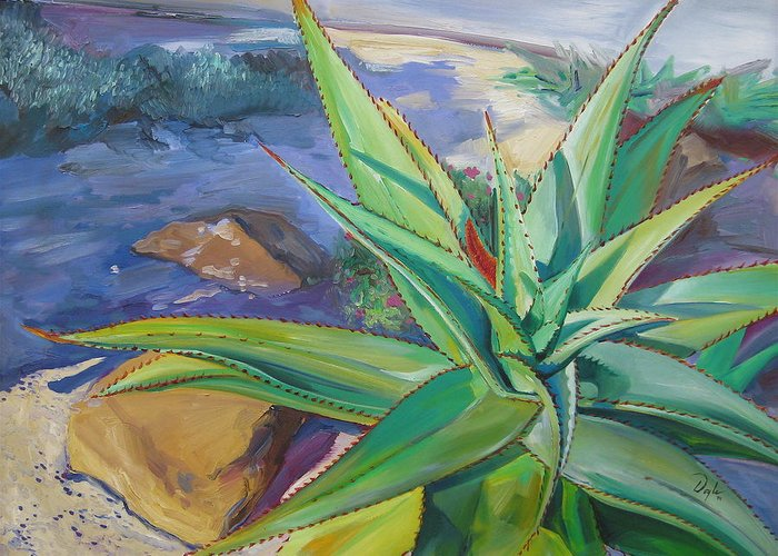 Plants Greeting Card featuring the painting Aloe Vera Number Two by Karen Doyle