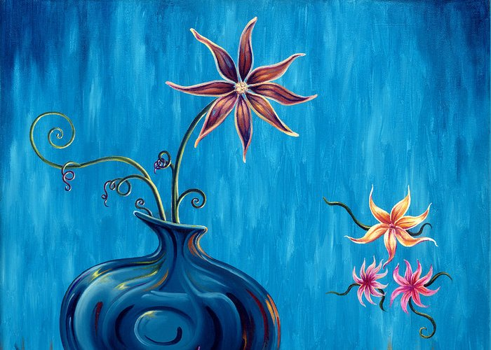 Fantasy Floral Scape Greeting Card featuring the painting Aloha Rain by Jennifer McDuffie