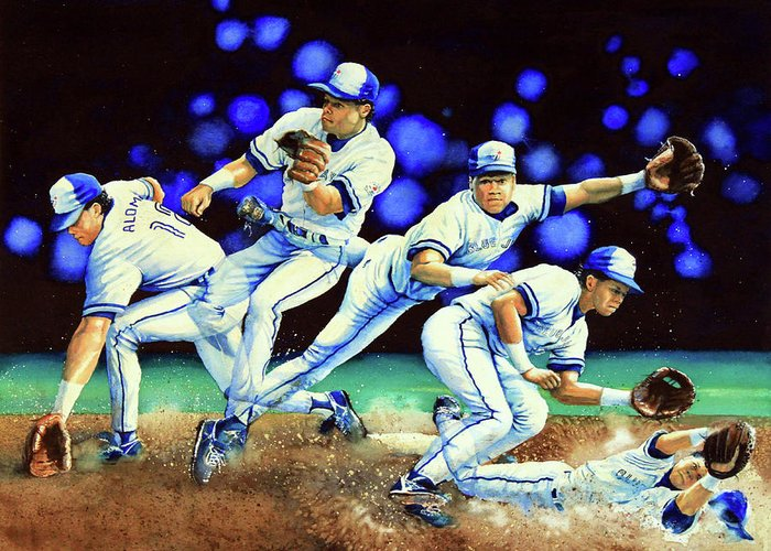 Sports Art Greeting Card featuring the painting Alomar On Second by Hanne Lore Koehler