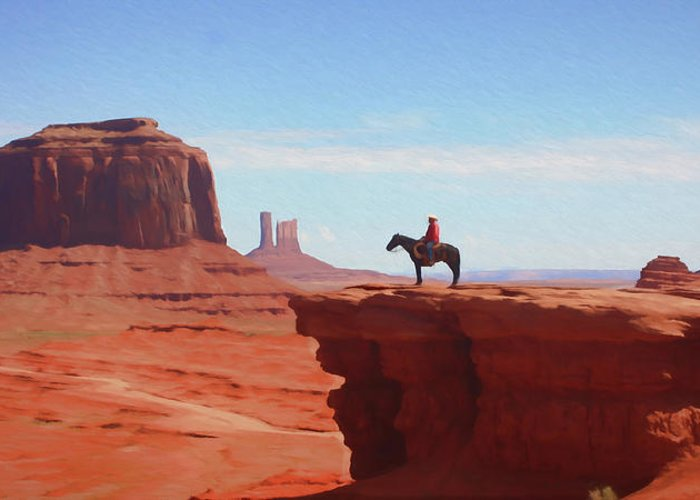Cowboy Greeting Card featuring the digital art Alone At The Top by Ronald Bolokofsky