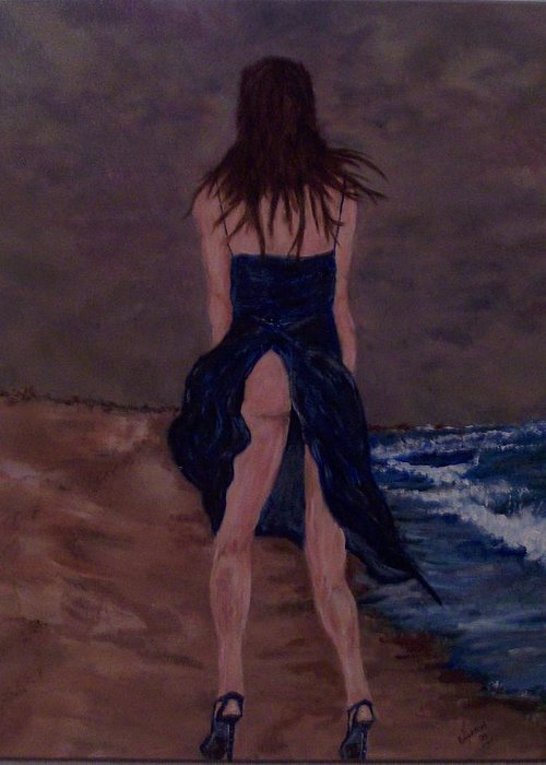 Sexy Greeting Card featuring the painting Alone By The Sea by Francis Bourque