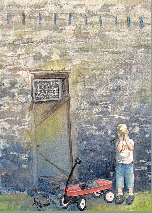 Child Greeting Card featuring the painting Alone by Gale Cochran-Smith