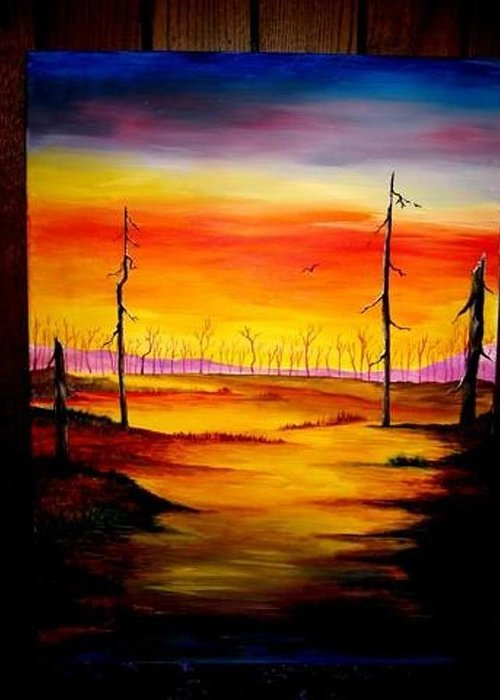 Landscape Greeting Card featuring the painting Alone by Glory Fraulein Wolfe
