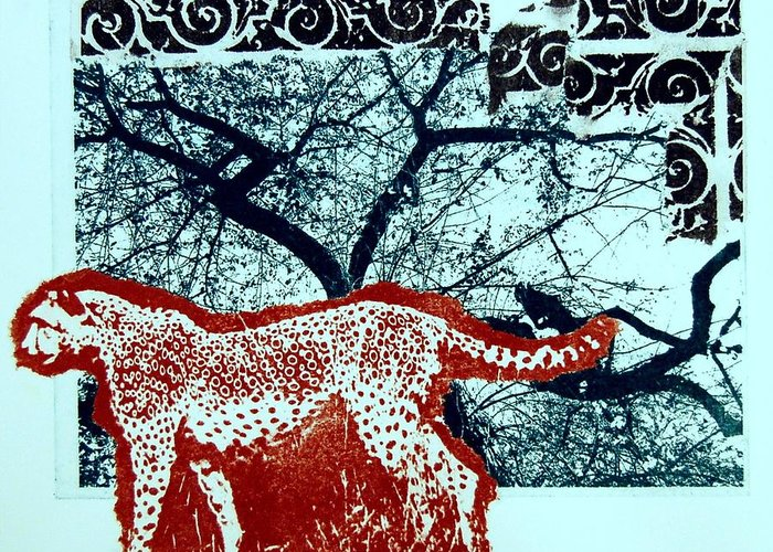Tree Greeting Card featuring the print Alone in the Forest by DeLa Hayes Coward